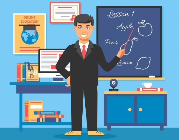 Online education training illustration poster with teacher standing at the blackboard and explaining the lesson vector illustration